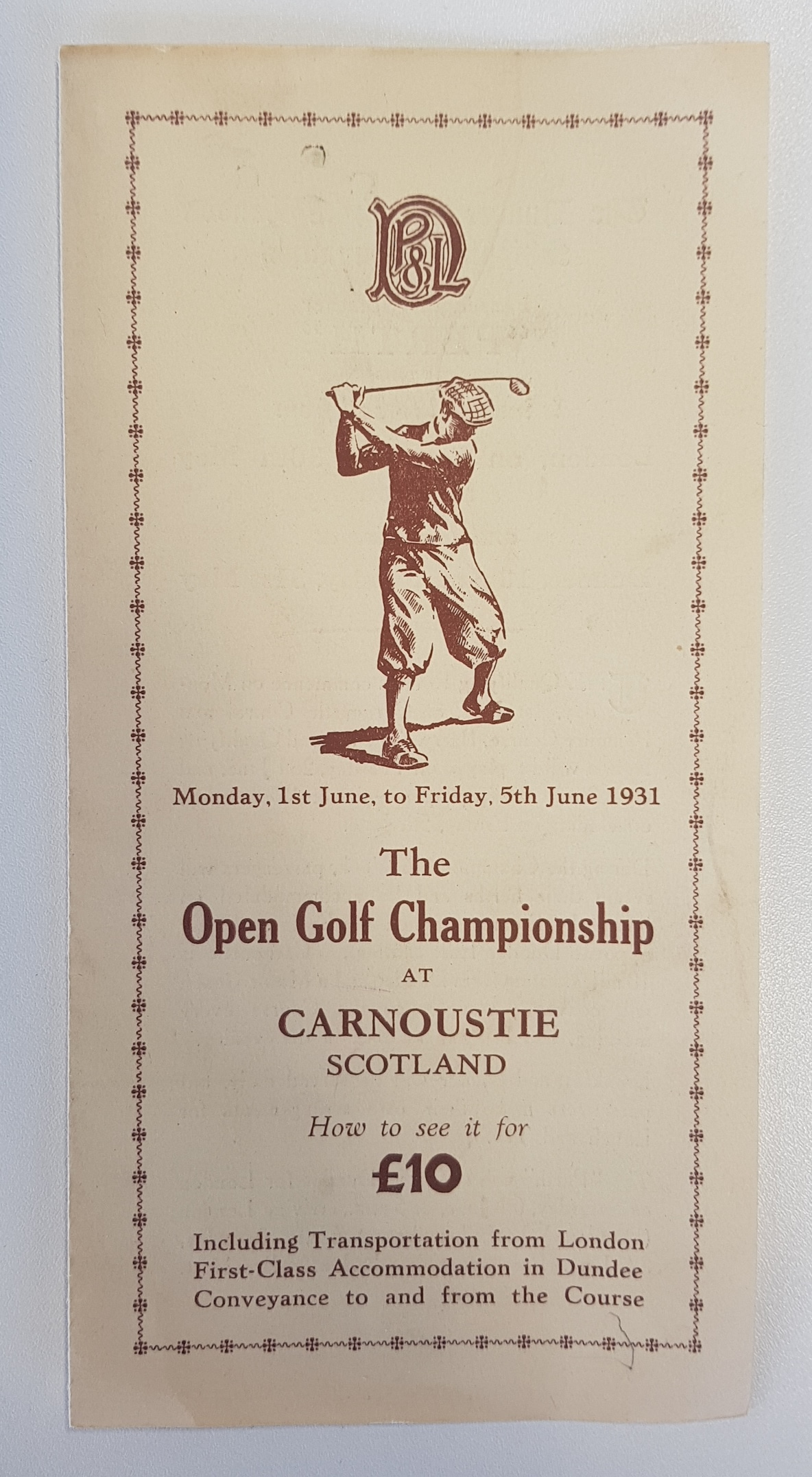 1931 Open Golf Championship programme