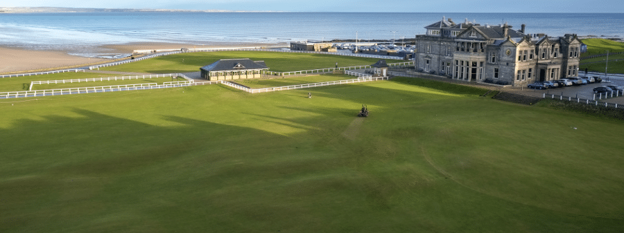 View of Old Course 1st tee and 18th Green and R&A Clubhouse from Rusacks Hotel